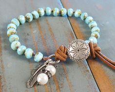 Boho bracelet light blue knotted Czech beads with leather