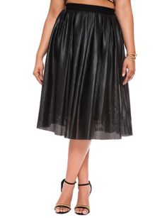 Studio Perforated Faux Leather Midi Skirt Black