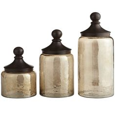 Bon Our Hammered Glass Sundarra Canisters With Antiqued Iron Lids Make A Rustic  Yet Elegant Statement In