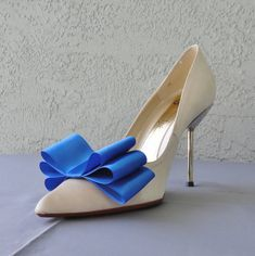 Royal Blue Satin Ribbon Bow Shoe Clips Set Of by Chuletindesigns, $15.00