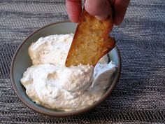 Creamy Garlic Dip with Garlic Toasts - trust me, you want this RIGHT NOW! I bought the pre-peeled whole cloves of garlic in the produce section, and I use cottage cheese instead of cream cheese. Or try plain Greek yogurt.