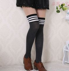 0674e1211 Fashion Design Sexy Winter Warm Over Knee Socks Thigh High Thick Socks  Striped Stockings Striped For Women girl Wholesale