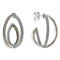 LAGOS 'Infinity' Crisscross Hoop Earring (2.905 BRL) ❤ liked on Polyvore featuring jewelry, earrings, beaded earrings, 18 karat gold earrings, hoop earrings, beaded jewelry and beading jewelry