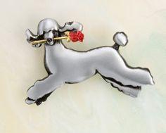 Satin Standard Poodle Pin/Pendant by markshields123
