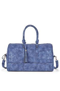 Distressed blue duffel bag, great for weekend getaways!