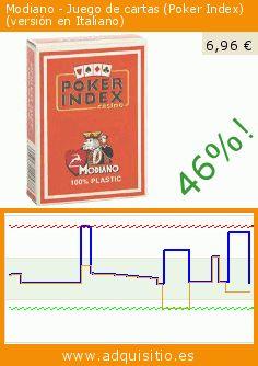 Modiano - Juego de cartas (Poker Index) (versión en Italiano) (Juego). Baja 46%! Precio actual 6,96 €, el precio anterior fue de 12,91 €. https://www.adquisitio.es/modiano/peluche-poker-index