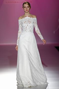 Hannibal Laguna bridal collection 2014 | gorgeous lace neckline and sleeves | Milanj Diamonds