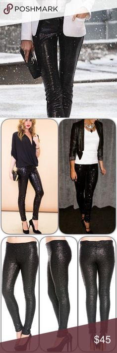 Black Sequin Pant/Legging The perfect holiday pant. Black sequin legging style pants. Features soft lining that pokes out the top waistband and bottom ankle. Perfect for a holiday party or NYE party.   ✔️Available in S-L ✔️100% polyester  ✔️Comes in gold & black ✔️Approx 15' waist (M) ✔️Approx 17.5' hips (M) ✔️Approx 29.5' inseam (M) Love Erin Collection  Pants Leggings