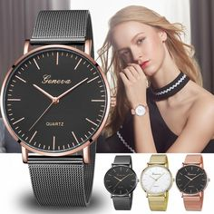 d9569dd1b01 GENEVA  Womens  Classic  Quartz  Stainless  Steel  Wrist  Watch Casual