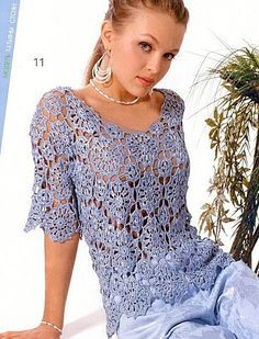 Azure Blue Short Sleeve Top with Round Motif free crochet graph pattern