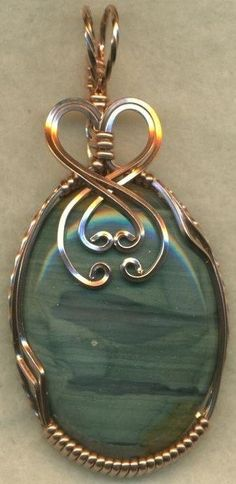 Blue Picture Jasper Copper Wire Wrap Pendant