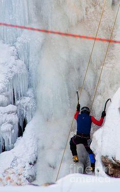 Ice climber in Ouray Colorado.