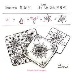 Online instructions for drawing CZT® Lin Chiu's Zentangle® pattern: Xmas-red. Zentangle Drawings, Doodles Zentangles, Doodle Drawings, Tangle Doodle, Zen Doodle, Doodle Art, Doodle Patterns, Zentangle Patterns, How To Make Doodle