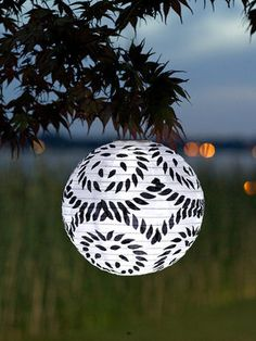 Soji Printed Round Black & White Solar Lantern by Allsop Garden at Gilt