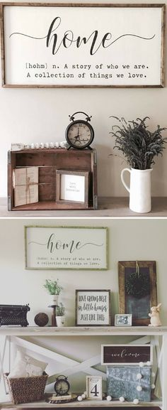 Home - A story of who we are. A collection of things we love. Home definition sign, home quote sign, home sign, farmhouse wall decor, large framed wood sign, rustic living room sign, farmhouse sign, housewarming gift #ad
