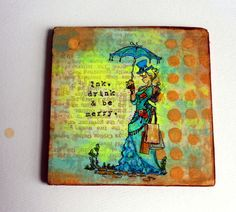 On written page, Gel Press, Stamps and ink