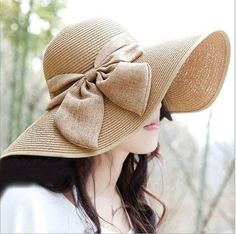 Vintage Straw Derby Cap Womens Flax Bow Wide Large Brim Summer Beach Sun Hat | eBay.