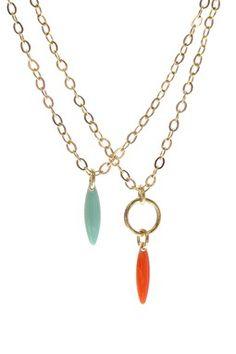 Aqua & Coral Necklace Set