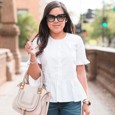 ShopStyle Look by stylistaesq featuring Madewell Studio Ruffle-Hem Top and Madewell Roadtripper High Waist Skinny Jeans Skinny Fit, Skinny Jeans, Kimberly Ann, Fashion Looks, Women's Fashion, Cute Blouses, Casual Wear, Preppy, Madewell