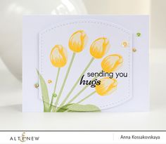 Love the simplicity of this card. The designer used Altenew's stamp set, Tulip, then added sequins as accents. Check out our blog for more info or simply click this photo to direct you to the project. www.altenew.com