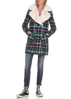 Manteau à carreaux avec col fourrure Gris by NAF NAF