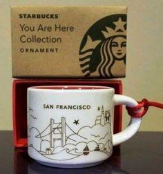 Starbucks Coffee mini mug ornament SAN FRANCISCO You Are Here Collection 2014 #Starbucks #mugssteins Cool Mugs, Starbucks Coffee, Girl Boss, San Francisco, Typography, Cookies, Ornaments, Interior Design, Mini
