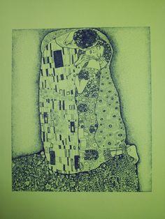 """Serigrafia eseguita con tecnica a punti tratta da """"Il bacio"""" di G. Klimt"""