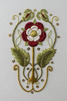Embroidered Tudor Rose. Designer Susan O'Connor. 3.75 x 2.25 inches. Sep 2017. Silk on silk.