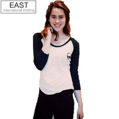 New 2015 Winter Autumn Woman Lady Casual T shirt Long Sleeve O-Neck Alien Print T-shirt Patchwork Tee Top Fashion Basic Blusas #Dresses #Clothing