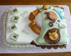 Zoo Animals Baby Shower Cake