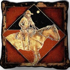 Late Night Express Cowboy Horse Rider Pillow