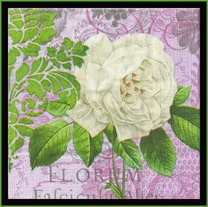4 Floral Scrapbooking Paper Napkins Shabby Chic Cottage Style Decoupage Paper Tissue Napkins Fancy Dinner Napkins Mixed Media