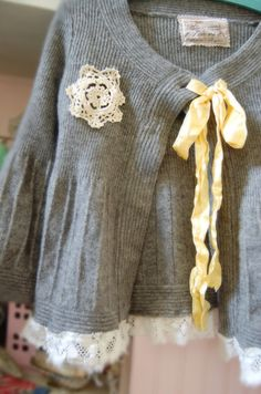 Heather Grey Wool Tweed Sweater Babydoll Style by OfLinenandLace, $64.50