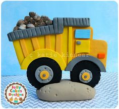 Big Digger Construction Cake Topper  ``handcrafted from polymer clay for boys' birthday parties~