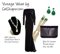 """""""Vintage Velvet by CalChique.com"""" by calchique99 ❤ liked on Polyvore featuring Talbot Runhof, Yves Saint Laurent, MIJA and vintage"""