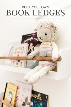 These simple and modern kids' book ledges are such a fun way to display your little one's favourite books and art in their bedroom or playroom. Find the free building plans here. Playroom Wall Decor, Playroom Furniture, Playroom Organization, Pocket Hole Drill, Book Ledge, Spray Paint Cans, Modern Kids, Craft Storage, Kid Spaces