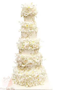 Floral Wedding Cake by Pink Cake Box
