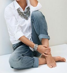 Jeans, white shirt, and statement necklace