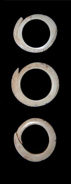 Abelam people, East  Sepik, Papua New Guinea - three ancirnt abelam shell rings.19th C