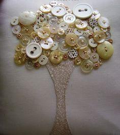 Jardim Bordado: almofadas bordadas a mão                                                                                                                                                      Mais Button Art, Button Crafts, Zen, Ornament Wreath, Textile Art, Sewing Crafts, Diy Home Decor, Christmas Wreaths, Patches