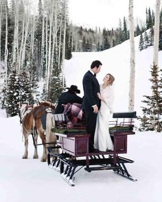 """Eric and Genevieve knew they wanted a destination wedding after attending a few friends' beach nuptials. """"We felt like our friends had done all that, and most of our friends also love to ski,"""" the bride says. A spring wedding in Deer Valley, Utah, on the tail end of ski season, won out. """"It was the most beautiful setting."""" To stay warm for photos and the outdoor ceremony, the bride wore white Uggs and then slipped into heels once they went indoors. To see more snowy wedding photos, click the…"""