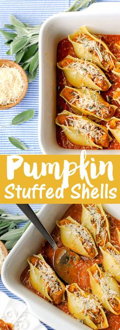 {Healthy} Pumpkin and Sage Stuffed Shells, less than 300 calories per serving!   Eat Yourself Skinny