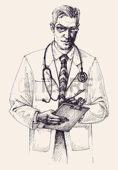 Illustration of Doctor portrait drawing vector art, clipart and stock vectors. Doctor Drawing, Guy Drawing, Drawing Sketches, Doodle Images, Doctor Images, Warrior Paint, Alone Art, Homo, Composition Art