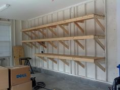 Open garage framing makes it simple to add deep shelves, strong enough for t. Open garage framing makes it simple to add deep shelves, strong enough for the heaviest stora Garage Storage Shelves, Storage Tubs, Garage Storage Solutions, Garage Shelf, Attic Storage, Shed Storage, Garage Organization, Storage Ideas, Organization Ideas