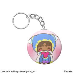 Cute chibi holding a heart keychains