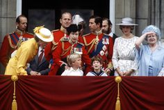 Trooping the color, 1982, with, Princess Anne, her son Peter Phillips, Lord Frederick Windsor, the Prince and Princess of Wales, the Queen Mother. The Queen and Prince Philip. The Duke of Kent, (standing in back, at left), his son, Lord Nicholas Windsor (partially hidden), and Prince Michael of Kent (with beard).
