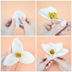 DIY Crepe Paper Magnolia Flowers. Follow this step by step tutorial to make your own crepe paper flowers. Download the flower templates here!