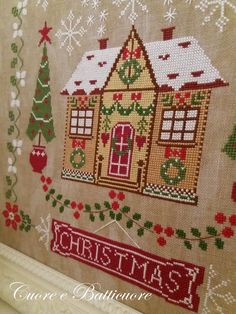 123 Cross Stitch, Cross Stitch Patterns, Christmas Ornaments To Make, Christmas Cross, Hama Beads, Sewing Stitches, Afghan Crochet Patterns, Cross Stitching, Needle Felting