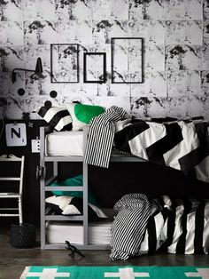 Monochrome Striped and Cevron printed Linen by Aura, avaialble at Forty Winks