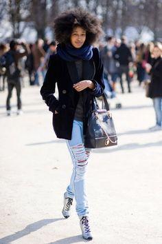 #street #fashion #denim #blazer